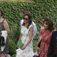Pippa, Carole et James Middleton à Wimbledon le 16 juillet 2017 pour la finale entre Roger Federer, ami de la famille, et Marin Cilic.
