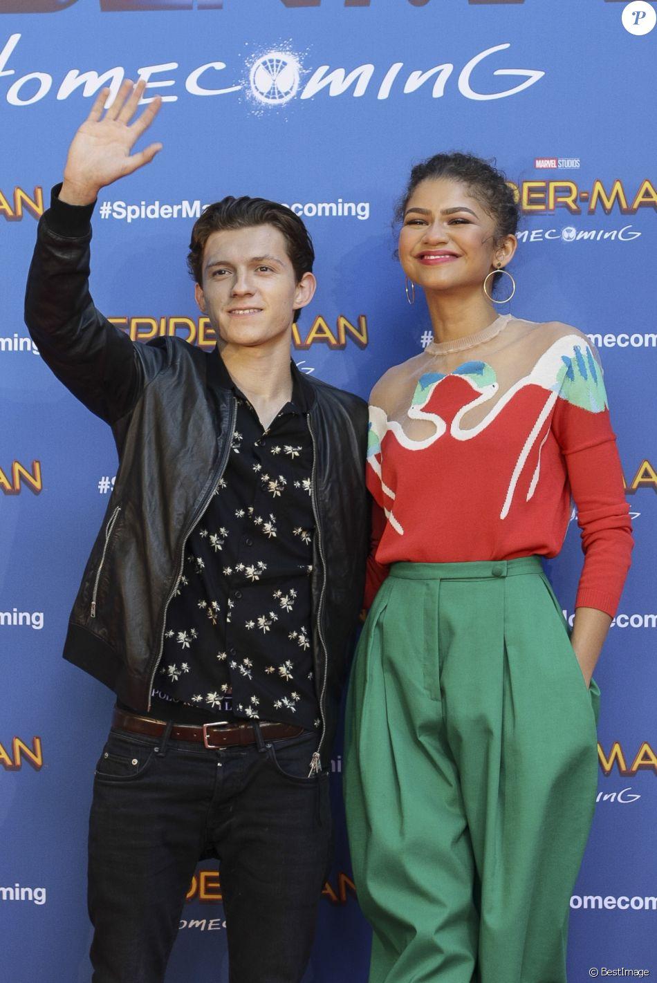 "Tom Holland et Zendaya - Photocall du film ""Spiderman"" à Barcelone, Espagne, le 18 juin 2017."