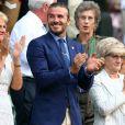 Gill Brook, David Beckham et sa mère Sandra Beckham à Wimbledon. Le 7 juillet 2017.
