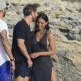 David Guetta et sa compagne Jessica Ledon passent leurs vacances avec des amis à Formentera en Espagne le 27 juin 2017.