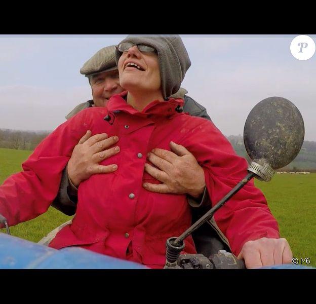 """Gérard et ses prétendantes Anne-Marie et Iris, le 14 août 2017 dans """"L'amour est dans le pré"""" sur TF1."""