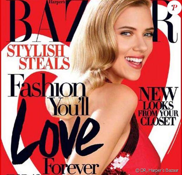"""Scarlett Johansson en couverture du numéro de """"Harper's Bazaar"""", dans lequel on peut trouver les photos de Doutzen Kroes"""