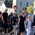 Edouard Saint Bris, un des frères de Gonzague lors des obsèques de Gonzague Saint Bris en la collégiale Saint Denis d'Amboise (Indre et Loire) le 14 août 2017.