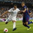 "Lucas Digne, Lucas Vaazquez Iglesias, Gerard Deulofeu. Finale de la Supercoupe d'Espagne ""Real Madrid - FC Barcelone"" au stade Santiago Bernabeu à Madrid, le 16 août 2017."