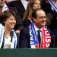 Martine Aubry et François Hollande - Finale de la Coupe Davis au Stade Pierre Mauroy de Lille Métropole. Match en double remporté par la Suisse face à la France le 22 novembre 2014