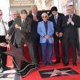 Kevin de Leon, Peter Bogdanovich et Charles Aznavour lors de la remise de son étoile sur le Hollywood Walk of Fame à Los Angeles, le 24 août 2017. © Chris Delmas/Bestimage