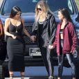 Les soeurs Kim Kardashian, Kourtney Kardashian et Khloe Kardashian à Los Angeles, le 11 mai 2017.