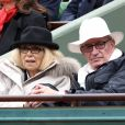 Mireille Darc et son mari Pascal Desprez - People dans les tribunes des internationaux de France de Roland Garros à Paris le 3 juin 2016. © Dominique Jacovides / Bestimage