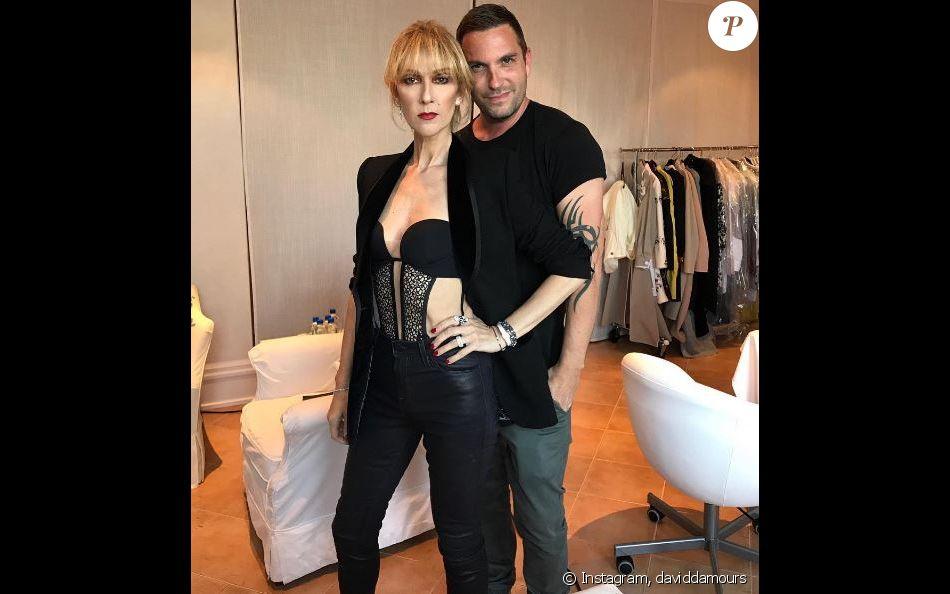 Céline Dion et son coiffeur. La star va assister au lancement du disque de son frère Jacques, le 30 août 2017 à Montréal.