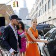 Iris Mittenaere (Miss France et Miss Univers 2016) et Kára McCullough (Miss USA 2017) se rendent au défilé Badgley Mischka lors de la Fashion Week de New York le 12 septembre 2017.