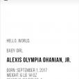 Serena Williams dévoile les premières photos de sa fille, et son prénom Alexis Olympia Ohanian Jr, née le 1er septembre 2017.