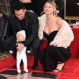 Adam Levine avec sa femme Behati Prinsloo et sa fille Dusty Rose Levine - Adam Levine reçoit son étoile sur le Walk of Fame à Hollywood, le 10 février 2017 © Chris Delmas/Bestimage