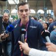 Le champion du monde du 800m, Pierre-Ambroise Bosse, arrive Gare du Nord à Paris, le 12 août 2017.
