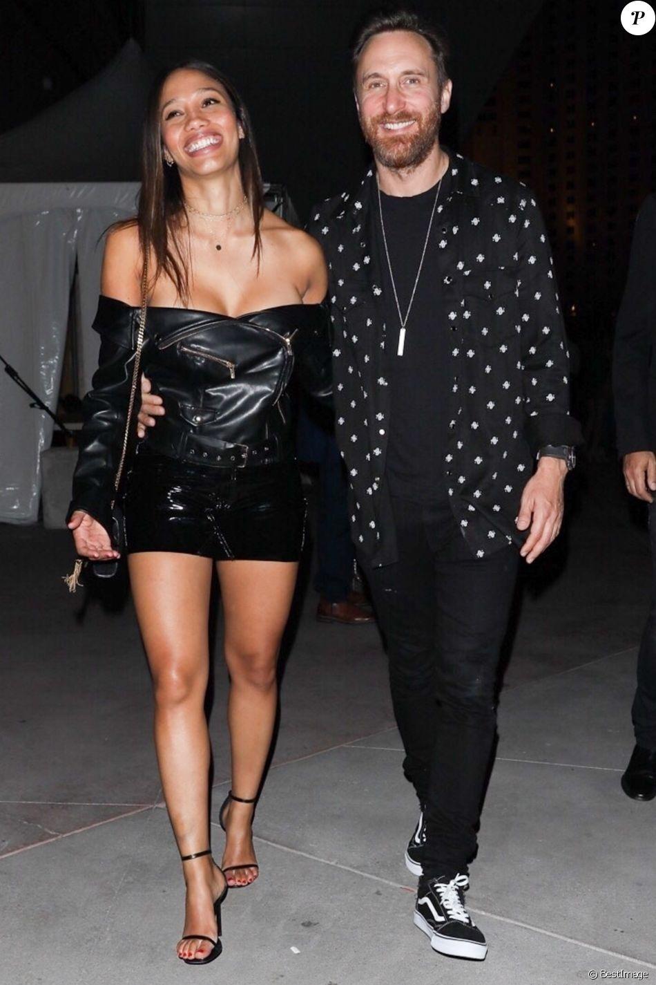 Exclusif - David Guetta et sa compagne Jessica Ledon sont allés voir un match de boxe (Canelo vs. Golovkin) à Las Vegas, le 16 septembre 2017.