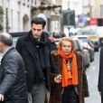 Liliane Bettencourt et son petit fils Jean-Victor Meyers quittent le restaurant du Bristol à Paris le 21 fevrier 2013.