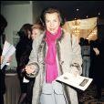 Liliane Bettencourt au défilé Yves Saint Laurent collection haute-couture, printemps-été 2001, à Paris, le 24 janvier 2001. LILIANE BETTENCOURT, PEOPLE AU DEFILE YVES SAINT-LAURENT COLLECTION HAUTE COUT