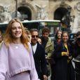 Natalia Vodianova, toute de Stella McCartney vêtue (pull et jupe de la collection croisière 2018) à l'issue du défilé de mode collection printemps-été 2018 Stella McCartney au Palais Garnier. Paris, le 2 octobre 2017.