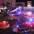 Un cadavre gît sur le sol après la tuerie de Las Vegas le 1er octobre 2017. Le tireur, Stephen Paddock s'est tué dans la chambre d'hôtel d'où il a tiré et abattu 50 personnes dans un festival à Las Vegas. L'Etat Islamique a revendiqué la tuerie Las Vegas