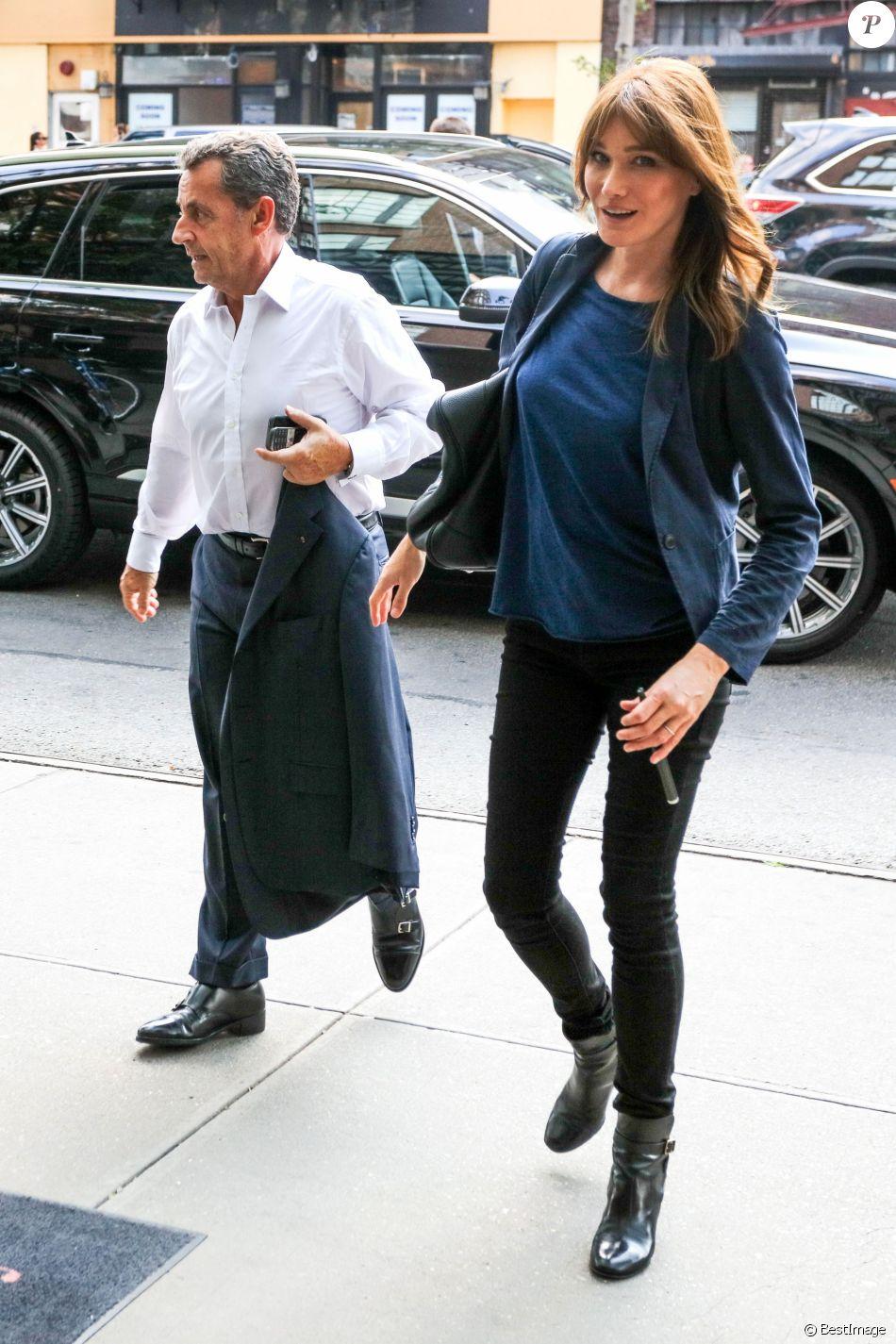 Exclusif - Carla Bruni-Sarkozy et son mari l'ancien Président Nicolas Sarkozy quittent un hôtel de New York le 14 juin 2017.