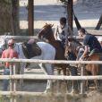 Exclusif - Madonna fait une balade à cheval sur la plage de Comporta avec son fils David, le 8 octobre 2017.