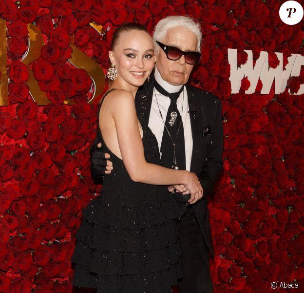 Lily-Rose Depp et Karl Lagerfeld - 2e édition des WWD Honors par Women's Wear Daily à l'hôtel Pierre. New York, le 24 octobre 2017.
