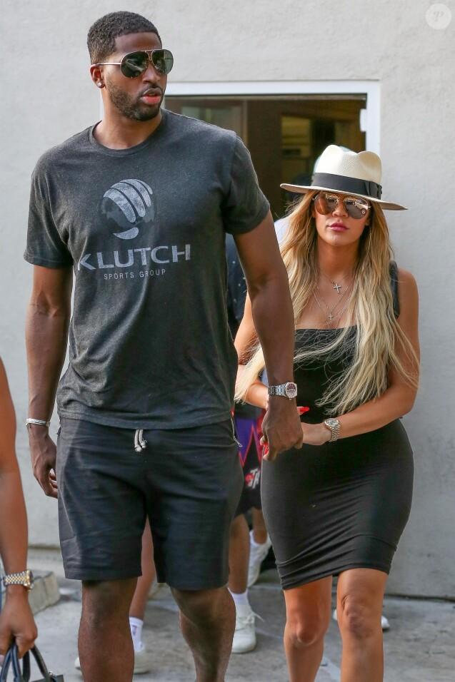 Khloe Kardashian et son nouveau compagnon Tristan Thompson sont allés déjeuner au restaurant Benihana à Los Angeles, le 5 juillet 2017.