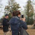 Exclusif - La Princesse Stéphanie de Monaco devient la marraine d'un bébé éléphant nommé Ta Wan (rayon de soleil), âgé de 5 semaines, lors d'une visite au parc animalier de Pairi Daiza en Belgique. Le 26 octobre 2017. La princesse a également rencontré un panda.