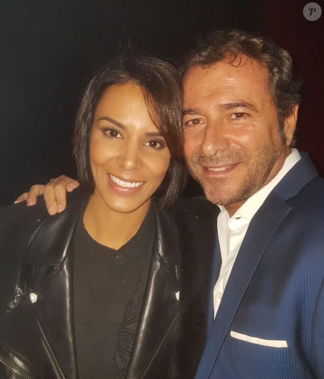 Exclusif - Shy'm et Bernard Montiel lors du concert privé MFM Radio Live sous le chapiteau du Cirque Medrano à Lyon le 9 novembre 2017.