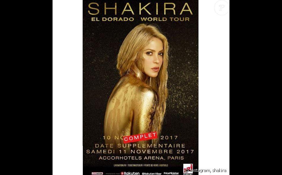 Affiche des concerts que Shakira aurait dû donner les 10 et 11 novembre 2017 à l'AccorHotels Arena, à Paris.