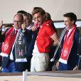 Semi-exclusif - Le prince Albert II de Monaco avec ses neveux Pierre Casiraghi et Louis Ducruet, qui se sont comme lui laissé pousser la moustache pour marquer le bicentenaire de la Compagnie des carabiniers, lors du match de Ligue des Champions AS Monaco - Besiktas le 17 octobre 2017 au stade Louis II.