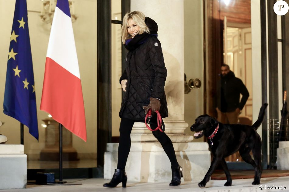 Brigitte Macron promène son chien Nemo près du palais de l'Elysée à Paris, habillée d'une doudoune Moncler. Le 20 novembre 2017 © Stéphane Lemouton/Bestimage