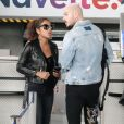 """M. Pokora et sa compagne Christina Milian quittent Nice, le 5 novembre 2017."""