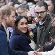 Meghan Markle avec le prince Harry à Nottingham le 1er décembre 2017, leur première mission royale ensemble après l'annonce de leurs fiançailles.
