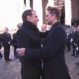 Emmanuel Macron et David Hallyday - Obsèques de Johnny Hallyday en l'église de la Madeleine à Paris. Le 9 décembre 2017.