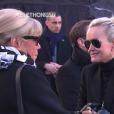 Brigitte Macron et Laeticia Hallyday - Obsèques de Johnny Hallyday en l'église de la Madeleine à Paris. Le 9 décembre 2017.