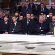 Julie Gayet, François Hollande, Carla Bruni, Nicolas Sarkozy et plus à droite Brigitte Macron - Obsèques de Johnny Hallyday en l'église de la Madeleine, à Paris le 9 décembre 2017.