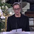 Carole Bouquet aux obsèques de Johnny Hallyday à Paris. Le 9 décembre 2017.