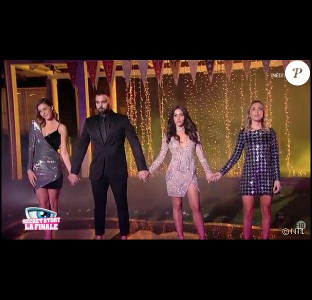 """Barbara, Noré, Laura et Charlène - Finale de """"Secret Story 11"""" sur NT1. Le 7 décembre 2017."""
