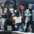 Exclusif - Macaulay Culkin et sa compagne Brenda Song et Seth Green et sa femme Clare Grant se promènent dans les rues de Paris, le 24 novembre 2017. Ils ont été rejoints par Paris Jackson.