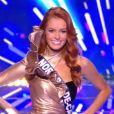 Miss Nord-Pas-De-Calais : Maëva Coucke en tenue de fête de la musique - Concours Miss France 2018. Sur TF1, le 16 décembre 2017.