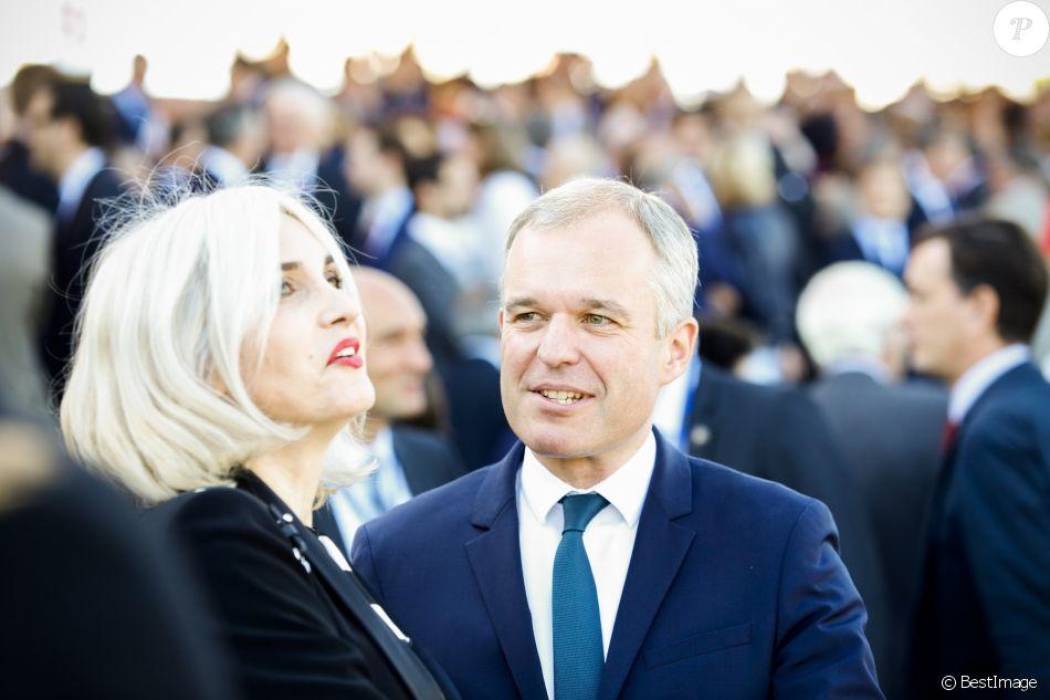 François de Rugy et Séverine Servat lors du défilé du 14 juillet (fête nationale), place de la Concorde, à Paris, le 14 juillet 2017, avec comme invité d'honneur le président des Etats-Unis. © Denis Allard/Pool/Bestimage