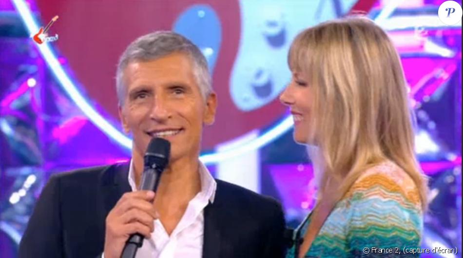 """Nagui reçoit son épouse, Mélanie Page, dans """"Noubliez pas les paroles"""", le 17 septembre 2016 sur France 2."""