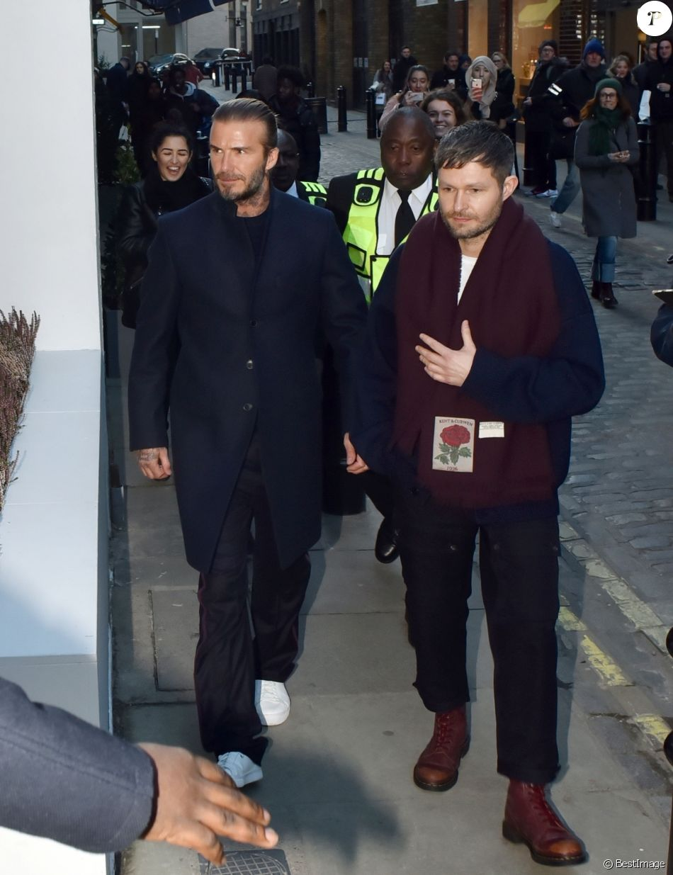 David Beckham assiste à la présentation de la nouvelle collection de Kent & Curwen, à la Fashion Week de Londres. Le 7 janvier 2018.