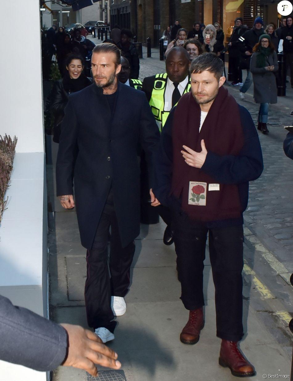 David Beckham assiste à la présentation de la nouvelle collection de Kent & Curwen, à la Fashion Week de Londres. Le 7 janvier 2018.
