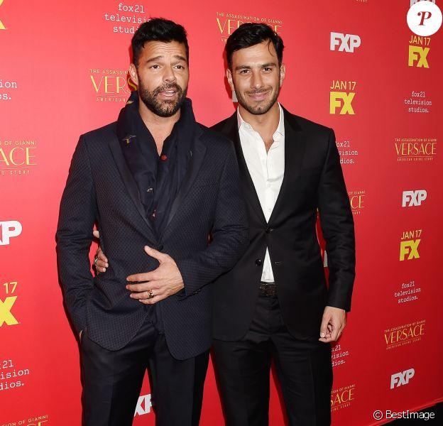 """Ricky Martin et son fiancé - Première de la saison 2 de la série """"The Assassination Of Gianni Versace: American Crime Story"""" à Los Angeles, Californie, Etats-Unis, le 8 janvier 2018. © JLPPA/Bestimage"""