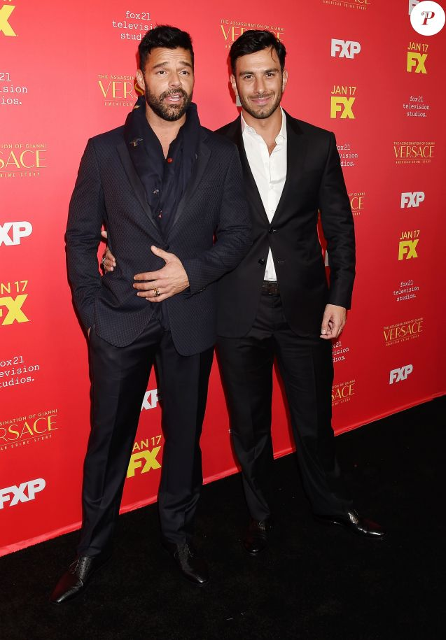 "Ricky Martin et son fiancé - Première de la saison 2 de la série ""The Assassination Of Gianni Versace: American Crime Story"" à Los Angeles, Californie, Etats-Unis, le 8 janvier 2018. © JLPPA/Bestimage"
