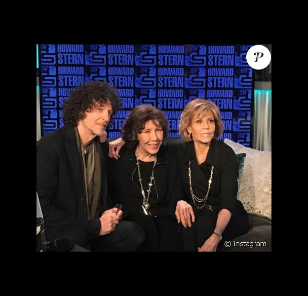 Howard Stern, Lily Tomlin et Jane Fonda avec un pansement sur la lèvre - Sirius Show le  15 janvier 2018 à New York