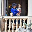 La princesse Charlene de Monaco avec ses enfants le prince Jacques et la princesse Gabriella au balcon du palais lors de la fête nationale monégasque, à Monaco, le 19 novembre 2017. © Dominique Jacovides/Bestimage