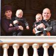 La princesse Charlene, son fils le prince Jacques, le prince Albert II de Monaco et sa fille la princesse Gabriella au balcon du palais princier lors de la fête nationale monégasque le 19 novembre 2015 © Bruno Bebert-Dominique Jacovides / Bestimage