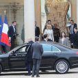 Semi Exclusif - Angelina Jolie quitte le palais de l'Elysée après un rendez-vous avec Brigitte Macron à Paris le 30 janvier 2018.